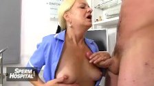 Czech nurse lady Marta old with young handjob