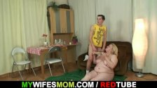 Huge old bag gets screwed by slim son-in-law