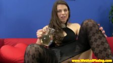 Piss fetish bigtit babe drenched in her urine