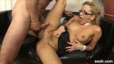 Gorgeous blonde office babe takes a creampie