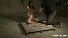 Naked sex slave brought to orgasm by Master