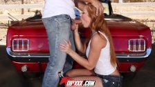 DP - Redhead babe has engine trouble