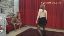 Redhead Agent Whore makes this guy horny