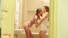 Skinny beautiful lesbians in the bathroom