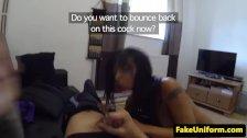 Ebony amateur pounds on dodgy officers cock