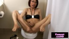 Asian transitioning femboy jerks and toys