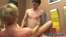 Young teen boy helping hand first time