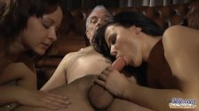Two escort girls gives grandpas select riding