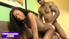 Ebony tgirl cockriding while tugging