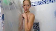 Hot babe handjob in the bathroom