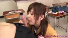 Tokyo schoolgirl giving head in class