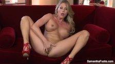 Super hot Samantha Saint fingers her pussy