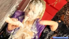 Jizz drenched les piledriven by strapon - duration 10:00