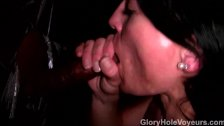 Gloryhole Brunette Sucks Fucks Black Cock