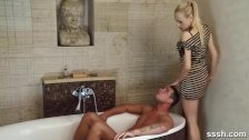 Naughty Blonde teases her man in the bath