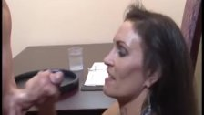 : Brunette milf strokes a boner