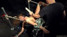 Slave with dental gag extreme rough orgasm an