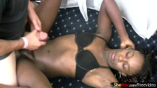 Ebony shemale needs two hands to strokes cock