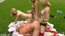 Fun loving t-girls are anal fucking outdoors