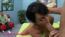 Black haired young wife gets first huge white