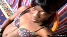 Horny ebony shemale gets sperm load