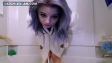 Cute Purple Hair Petite Slim Lolita Teen Takes Bubble Bath With Huge Dildo!