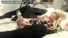 Blonde Petite Busty Lolita Teen Girl In Schoolgirl Uniform Masturbates Cam!