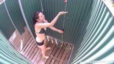 Brunette MILF Showering in Public Pool