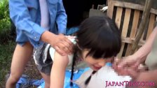Petite japanese babe fingered outdoors