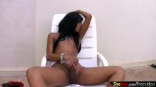 Black hair ebony shemale in hot lingerie strokes her penis