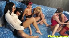 Euro lesbians pissing during group shower