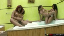 Lusty t-girls with big tits suck and fuck each others cocks