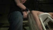 Delicate busty slave tied brutal spanked and blowjob used