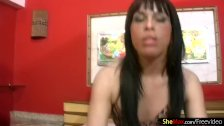Pretty face Latina t-girl strips off and tugs her ladystick