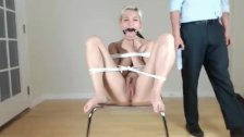 Blonde teen tied up and punished