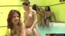 Bikini wearing shemales enjoy hot tub fucking in foursome