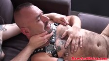 Cocksucking chubs breeding in threeway