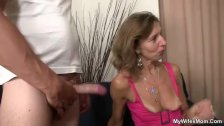 Daughter watches husband fucking her old mom