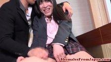 Sweet jap tgirl in schooluniform assdrilled