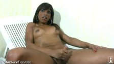 Black shemale with natural tits strokes sheco
