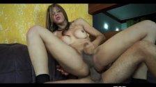 Big Booty Latina Shemale Swallows Cock