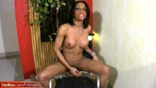 Black chick with dick takes off her bra and e