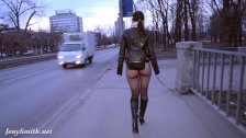 Jeny Smith bottomless pantyhose public walk