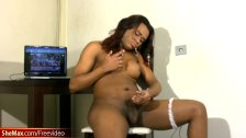 Chubby ebony cock girl fondles bigtits and jerks off shemeat