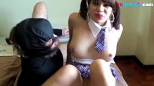 TS Filipina Big Tits School Girl Enjoying Anal