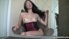Amazing private parts of a nerdy solo girl