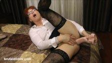 Mature secretary prolapses from brutal anal dildo