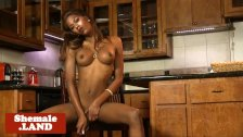 Bigtitted black tgirl teasing and tugging