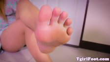 Toes fetish ladyboy shows off her pretty feet