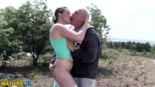 Old man fucks a teen outdoors